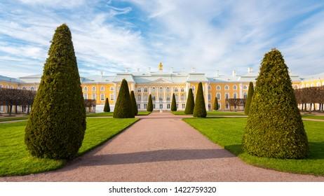 Peterhof, Russia-May 07, 2019: Upper garden, Grand Palace, Peterhof, Russia. Panoramic view.