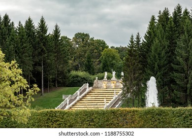 Peterhof, Saint Petersburg, Russia - August 31, 2018: Golden Mountain cascade. Fountains of Peterhof. Western part of Lower Park in Peterhof