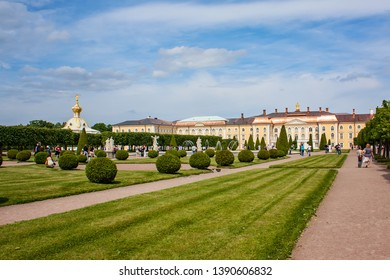 PETERHOF, SAINT PETERSBURG, RUSSIA - JUNE 23, 2011:  The Upper Garden and is a central attraction in Peterhof