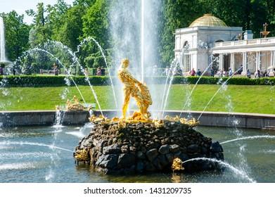 Peterhof, SAINT PETERSBURG, RUSSIA - JUNE 06, 2019:  Samson Fountain in Petergof