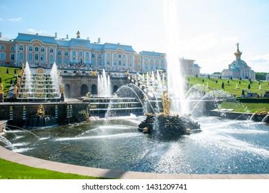 Peterhof, SAINT PETERSBURG, RUSSIA - JUNE 06, 2019: Grand Cascade and Samson Fountain in Petergof