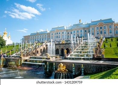 Peterhof, SAINT PETERSBURG, RUSSIA - JUNE 06, 2019: Grand Cascade in Petergof