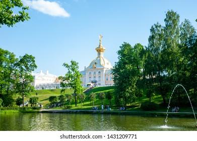 Peterhof, SAINT PETERSBURG, RUSSIA- JUNE 06, 2019: scenic view on  Grand Palace in Petergof, St Petersburg