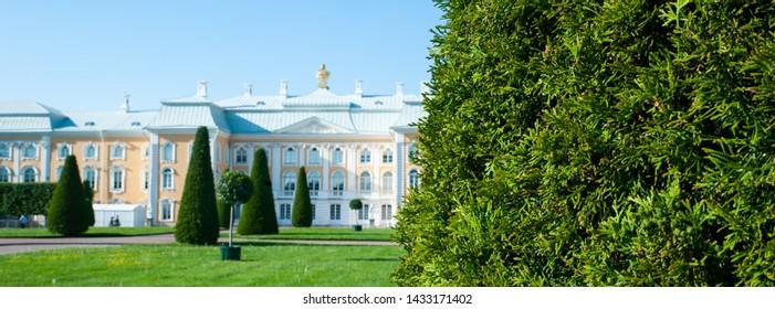 Peterhof, SAINT PETERSBURG, RUSSIA - JUNE 06, 2019: Grand Peterhof Palace in the upper garden of Peterhof, Saint-Petersburg, Russia