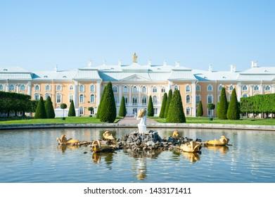 Peterhof, SAINT PETERSBURG, RUSSIA - JUNE 06, 2019: Grand Peterhof Palace and fountain in the upper garden of Peterhof, Saint-Petersburg, Russia