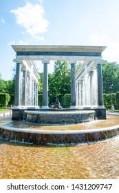 Peterhof, Saint Petersburg, Russian Federation, June 06, 2019: Lion cascade fountain in Petergof