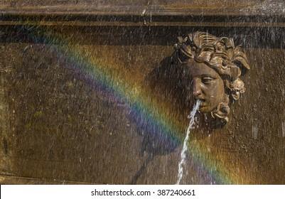 """PETERHOF, SAINT-PETERSBURG, RUSSIA - AUGUST 23, 2015: A fragment of the fountain """"Lion cascade"""" of Peterhof, St. Petersburg, Russia, in August 2015"""
