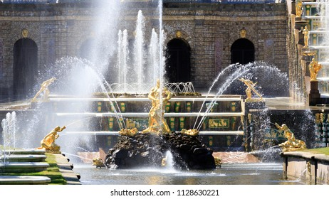 """PETERHOF, SAINT-PETERSBURG, RUSSIA - JUNE 1, 2018: The Fountain """"Samson tearing the lion's mouth"""". The Samson is the central fountain of The Grand Cascade in The State Museum Preserve Peterhof"""