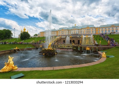 PETERHOF, SAINT-PETERSBURG, RUSSIA - JUNE 20, 2016: Grand Cascade in Peterhof palace was included in the UNESCO World Heritage List