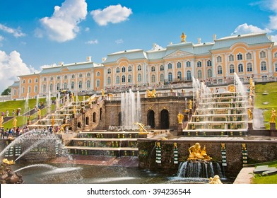 PETERHOF, SAINT-PETERSBURG, RUSSIA - JUNE 25, 2013: Grand Cascade in Petergof, St Petersburg, Russia on June 25, 2013.  Peterhof palace was included in the UNESCO World Heritage List