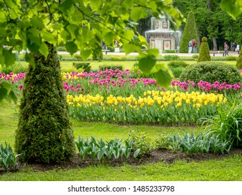 PETERHOF, SAINT-PETERSBURG, RUSSIA - MAI 26, 2019: Roman decoratedn foutains in Peterhof - the place with many golden palaces and gardens