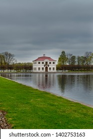 PETERHOF, SAINT-PETERSBURG, RUSSIA - May, 10, 2019: Marly Palace in the Lower Gardens of Peterhof (suburb St. Petersburg)