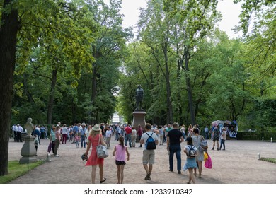 Peterhof, St. Petersburg, Russia - August 17, 2018: Tourists in Peterhof