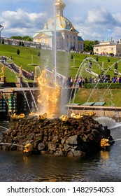 Peterhof, St. Petersburg, Russia - June 25, 2019: Samson Fountain in lower park of Petergof