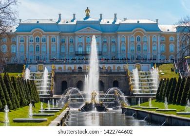 Peterhof, St. Petersburg, Russia - MAY 06, 2019. The Samson Fountain, Grand Palace in Pertergof