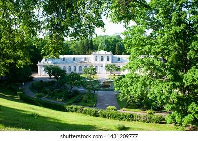 PETERHOF, St. Petersburg, Russia-June 06, 2019: manor House in Peterhof Palace. Panoramic view of the Peterhof Palace in summer.