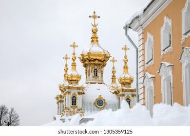 Peterhof, St.Petersburg, Russia, January 03, 2019: Peterhof Palace in winter - Image