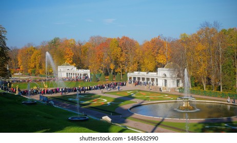 PETERHOF-ST PETERSBURG-RUSSIA-OCTOBER-17-2019:Panoramic  view of the Grand Cascade, Peterhof Palace, Russia, The Peterhof Palace and Gardens complex is recognized as a UNESCO World Heritage Site