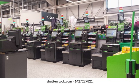 Peterlee / Great Britain - May 23, 2019 : Self service area in modern supermarket showing self-service pay point tills