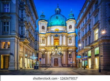 Peters Church on Petersplatz. Vienna, Austria. Evening view.
