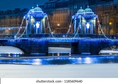 Petersburg. The bridge of the Lomonosov.  Channels of Petersburg. Architecture of St. Petersburg. Architecture of Russian cities. Bridges of Petersburg.