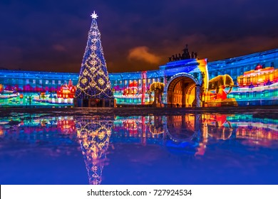 Petersburg is decorated for the new year. New Year tree on the palace square in St. Petersburg. New Year. Light show. Russia.