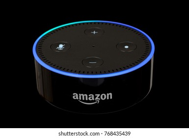PETERSBURG, ILLINOIS/USA-DECEMBER 3, 2017: Amazon echo dot, a handsfree voice controlled device that connects to the Alexa voice service, isolated on black