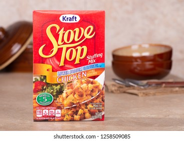 PETERSBURG, ILLINOIS/USA-DECEMBER 9, 2018: Closeup of a box of Kraft Stove Top Chicken Stuffing Mix on a kitchen counter