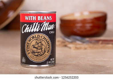 PETERSBURG, ILLINOIS/USA-DECEMBER 9, 2018:Closeup of a can of Chilli Man Chili on a kitchen counter