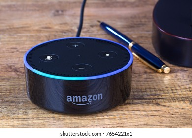 PETERSBURG, ILLINOIS/USA-NOVEMBER 27, 2017: Amazon echo dot, a hands free voice controlled device that connects to the Alexa voice service