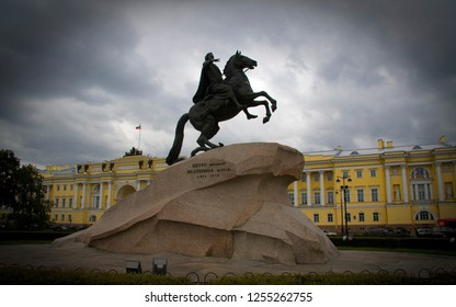 PETERSBURG - JAN 13. The Historical Bronze Horseman Statue Russia on January 13 2018. Bronze Horseman is an equestrian statue of Peter the Greatt was created by Étienne Maurice Falconet the sculptor
