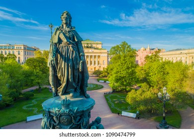 Petersburg. Monument of Catherine. Summer day in St. Petersburg. View from Nevsky Prospekt. Architecture of Russia. Russian history. Architecture of St. Petersburg.