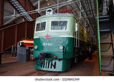Petersburg, Russia - December 2017: Old electric locomotives of green color, at the railway station. Renovated in retro style. Museum of Railways.