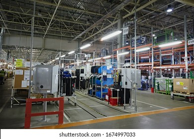 Petersburg, Russia - November 2017: Warehouse and goods on the shelves for automotive production. Car parts