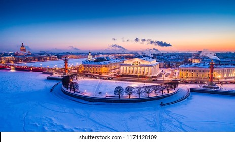 Petersburg. Winter. Spit of Vasilyevsky Island. Russia. Winter evening in St. Petersburg. Streets of Petersburg. Russian Architecture. Panorama.