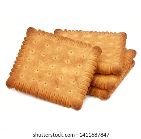 """ Petit beurre "": famous French biscuit isolated on white background"