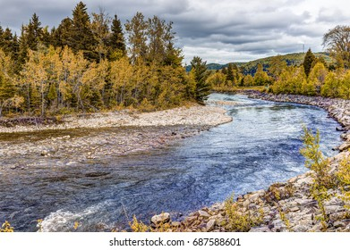 Petit Saguenay river in Quebec, Canada during autumn with curve