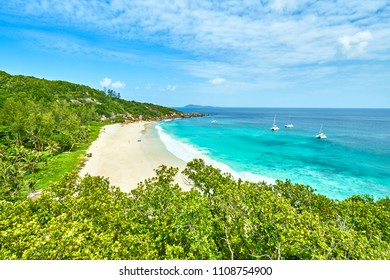 Petite Anse, La Digue in Seychelles - Tropcial and paradise beach