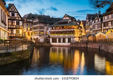 Petite France district with Christmas decorations in Strasbourg, France