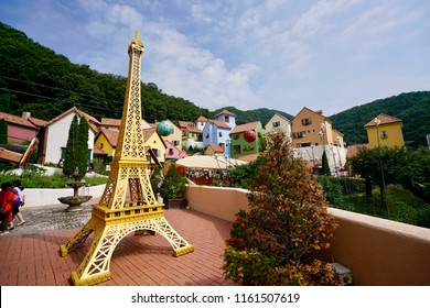 Petite France, Gyeonggi-do, Gapyeong-gun, Oeseo-myeon, Seoul, South Korea - 23 July 2018: Landscape of the architecture, design and decoration in the famous tourism destination.