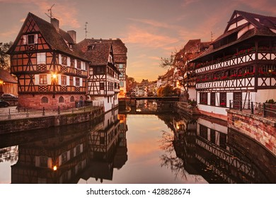 Petite France in Strasbourg at sunset.
