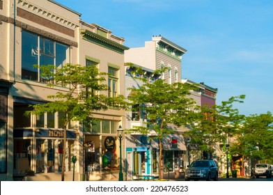 "PETOSKEY, MI - JUNE 27, 2014: Petoskey's quaint and charming ""Gaslight"" business district makes it a popular draw for vacationers heading to Michigan's northern Lake Michigan resorts."