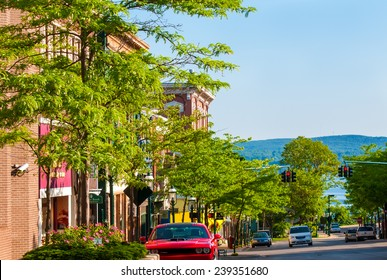PETOSKEY, MI - JUNE 27, 2014: The view to the north down Howard St affords a glimpse of Little Traverse Bay off Lake Michigan, a setting that makes this quaint town a popular coastal resort.
