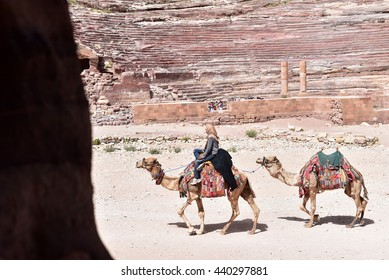 PETRA - JORDAN / 09.05.2016: Bedouin camel rider in Petra are waiting for the tourists