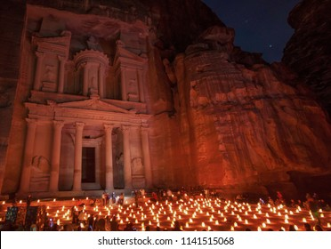 Petra, Jordan - 19th April 2014 - one of the most famous recognizable historical sites in the World, Petra is the main attraction of Jordan. Here in particular the facade of the Treasury at night