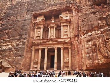 PETRA, JORDAN - APRIL 18:Ancient Treasury on April 18, 2012 in Petra, Jordan. Petra has been a UNESCO World Heritage Site since 1985