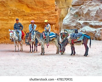 PETRA, JORDAN - CIRCA JUNE 2008: Men with a row of donkeys in the ruins
