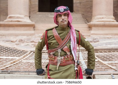 PETRA, JORDAN â?? December 25th, 2015: Royal soldier guarding the city's stone security