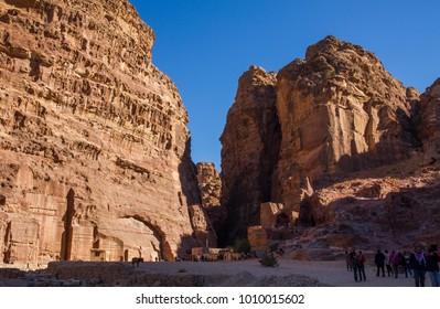 PETRA, JORDAN - DECEMBER 8, 2017: Petra, The ancient city in Jordan