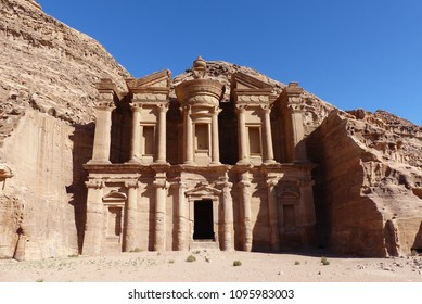 Petra, Jordan: famous facade of Ad Deir in ancient city Petra. Monastery in ancient city of Petra. The temple of Al Khazneh in Petra is one of UNESCO World Heritage Sites and one of the world wonders.